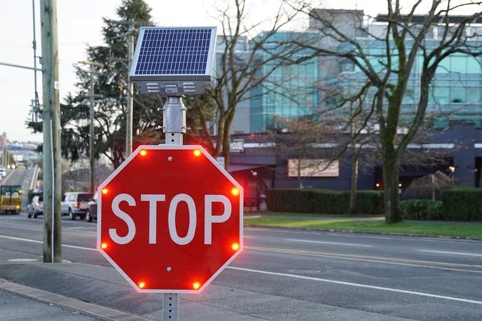 carmanah LED flashing stop sign